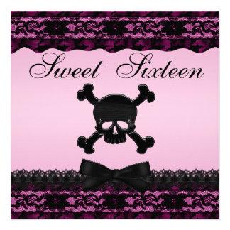 Dulce impreso negro enrrollado 16 del rosa del invitaciones personales