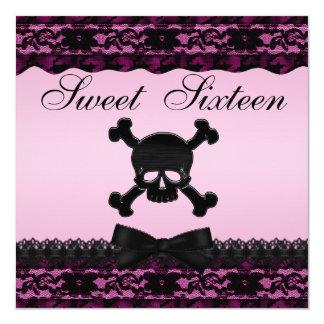 """Dulce impreso negro enrrollado 16 del rosa del invitación 5.25"""" x 5.25"""""""