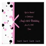 Dulce invitación rosada y negra de 16 del lunar