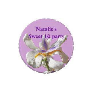 Dulce iris púrpura y blanco de 16 frascos de caramelos