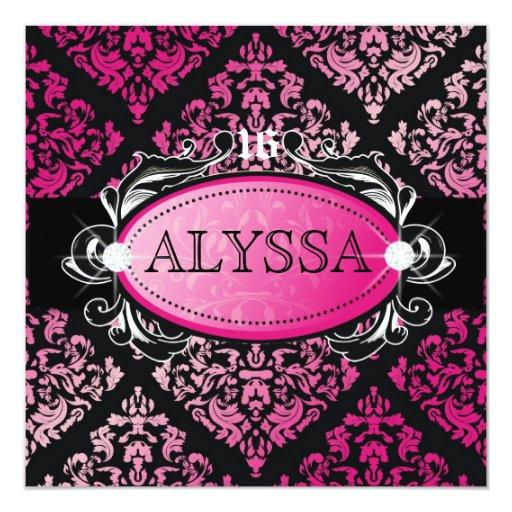 """Dulce lujosamente rosado 16 del damasco 311 invitación 5.25"""" x 5.25"""""""