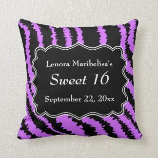 Dulce modelo negro y púrpura de 16 de la cebra cojin