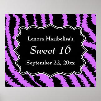 Dulce modelo negro y púrpura de 16 de la cebra póster