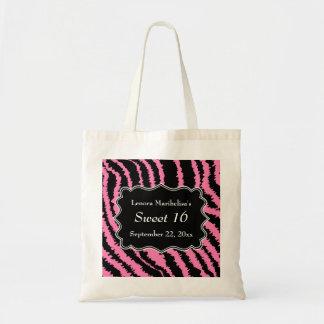 Dulce modelo negro y rosado de 16 de la cebra bolsa tela barata