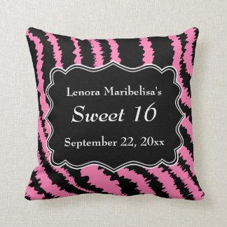 Dulce modelo negro y rosado de 16 de la cebra cojin