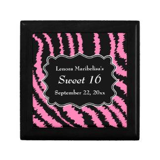 Dulce modelo negro y rosado de 16 de la cebra cajas de recuerdo