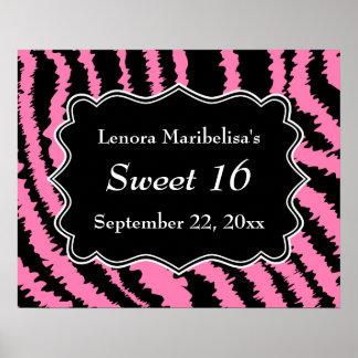 Dulce modelo negro y rosado de 16 de la cebra impresiones