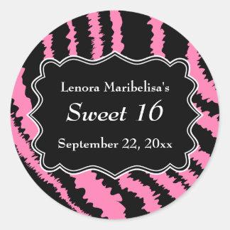 Dulce modelo negro y rosado de 16 de la cebra pegatina redonda