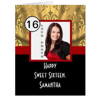 Dulce negro dieciséis del rojo y del oro tarjeta de felicitación grande