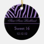 Dulce negro púrpura 16 de la cebra del ornamento r ornamentos de navidad