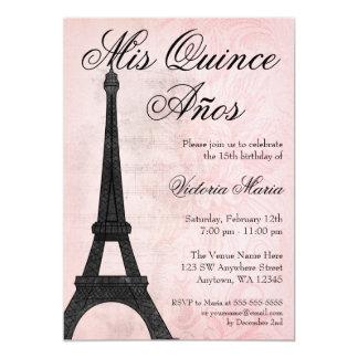 """Dulce negro rosado 15 Quinceanera de París del Invitación 5"""" X 7"""""""