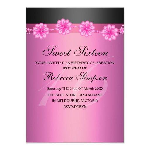 Dulce negro y rosado floral invitación de 16