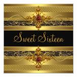 Dulce oro rico elegante salvaje de dieciséis invitación 13,3 cm x 13,3cm