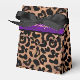 Dulce púrpura 16 de la raya de Patt del leopardo Paquetes De Regalo Para Bodas