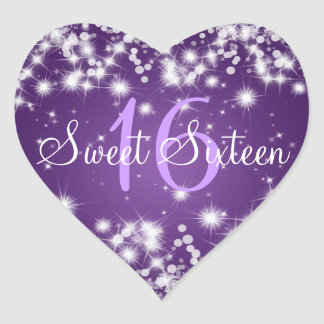 Dulce púrpura de la chispa de dieciséis inviernos calcomania corazon personalizadas