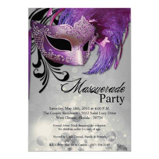 dulce púrpura de la mascarada 5x7 invitación de 16 invitación 12,7 x 17,8 cm