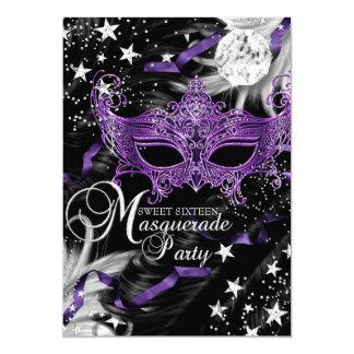 "Dulce púrpura de plata 16 de la mascarada de la invitación 5"" x 7"""