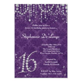 dulce púrpura del diamante 5x7 invitación de 16