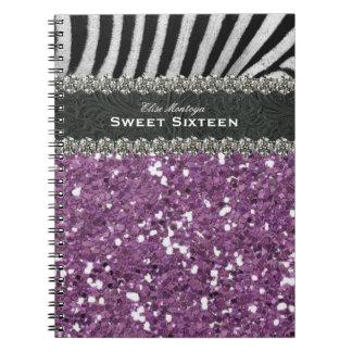 Dulce púrpura dieciséis de la cebra personalizado libro de apuntes