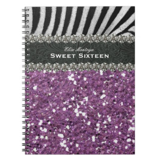 Dulce púrpura dieciséis de la cebra personalizado notebook