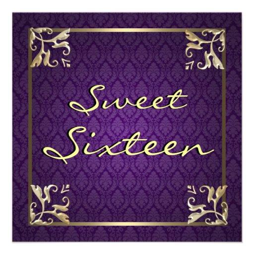 Dulce púrpura dieciséis del damasco invitaciones personales