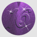 Dulce púrpura dieciséis pegatinas de la fiesta de pegatinas redondas