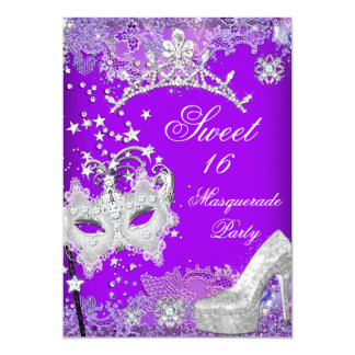 "Dulce púrpura dieciséis tiara 2 del fiesta de 16 invitación 5"" x 7"""