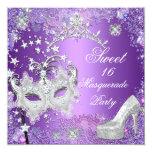Dulce púrpura dieciséis tiara del fiesta de 16 invitaciones personales