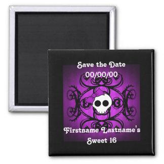 Dulce púrpura y negro 16 del cráneo gótico lindo imán cuadrado