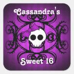 Dulce púrpura y negro 16 del cráneo gótico lindo calcomanías cuadradas