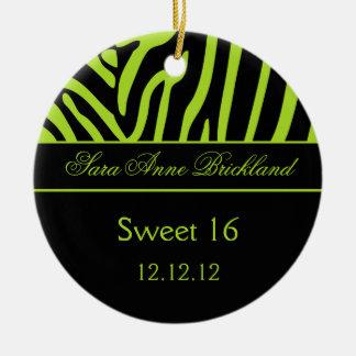 Dulce redondo 16 de la cebra del negro de la cal d adorno de navidad