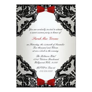 Dulce rojo, blanco y negro 16 del cordón invitación 12,7 x 17,8 cm