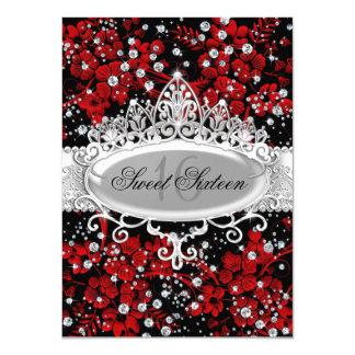 """Dulce rojo bonito 16 de las flores de la tiara y invitación 4.5"""" x 6.25"""""""