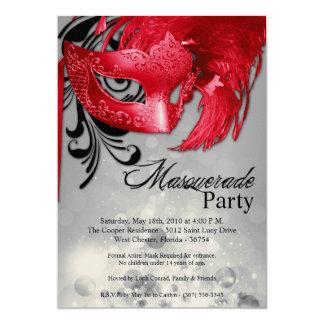 dulce rojo de la mascarada 5x7 invitación de 16
