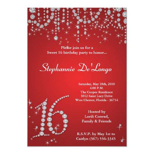 dulce rojo del diamante 5x7 invitación de 16