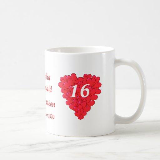 Dulce romántico personalizado dieciséis del corazó taza