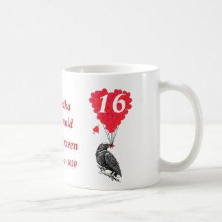Dulce romántico personalizado dieciséis del cuervo taza