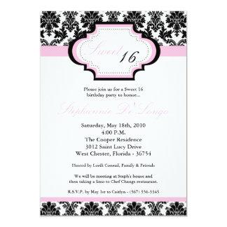 dulce rosa claro del damasco 5x7 invitación de 16