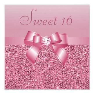 """Dulce rosado 16 de las lentejuelas, del arco y del invitación 5.25"""" x 5.25"""""""