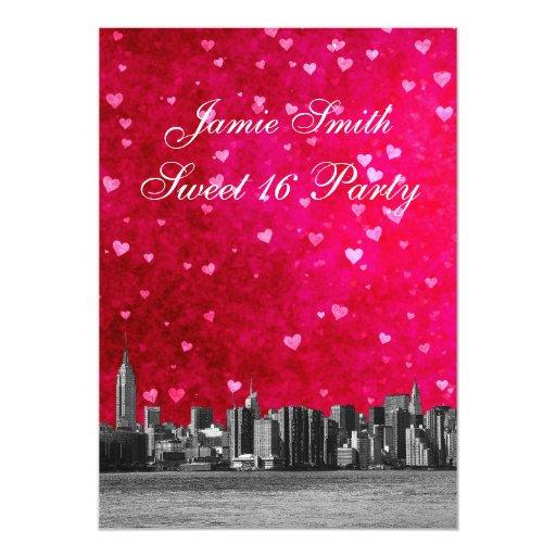Dulce rosado caliente grabado al agua fuerte 16 V Invitación 12,7 X 17,8 Cm