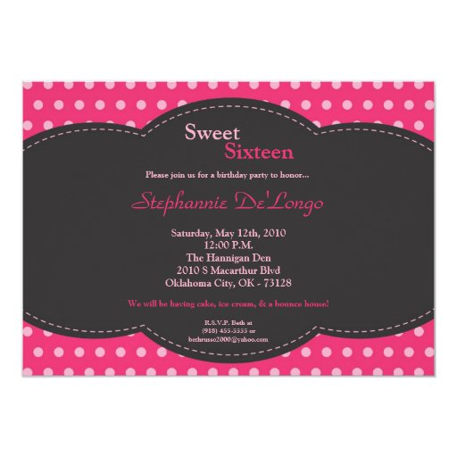 dulce rosado de 5x7 Polkadot invitación de 16