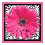 Dulce rosado de la margarita del Gerbera Invitación 13,3 Cm X 13,3cm