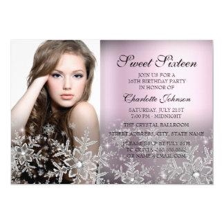 """Dulce rosado de plata 16 de la foto del copo de invitación 5"""" x 7"""""""