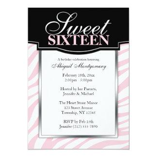 Dulce rosado del estampado de zebra 16 invitación