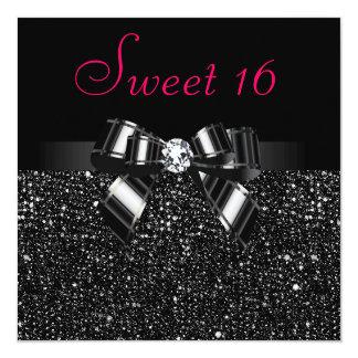 """Dulce rosado negro impreso 16 de las lentejuelas, invitación 5.25"""" x 5.25"""""""