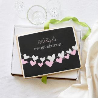 Dulce rosado y blanco dieciséis de los corazones
