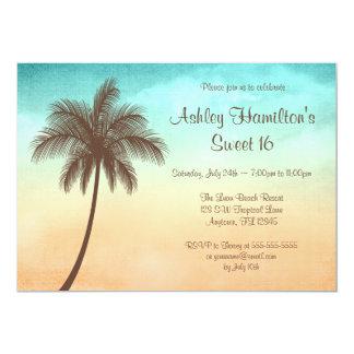 Dulce tropical 16 de la palmera de la playa invitación 12,7 x 17,8 cm