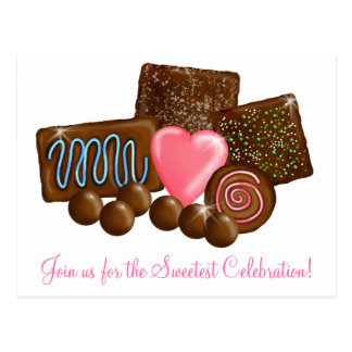 Dulces del caramelo de chocolate tarjeta postal