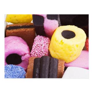 dulces famosos del regaliz tarjetas postales
