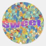 dulces pegatina redonda